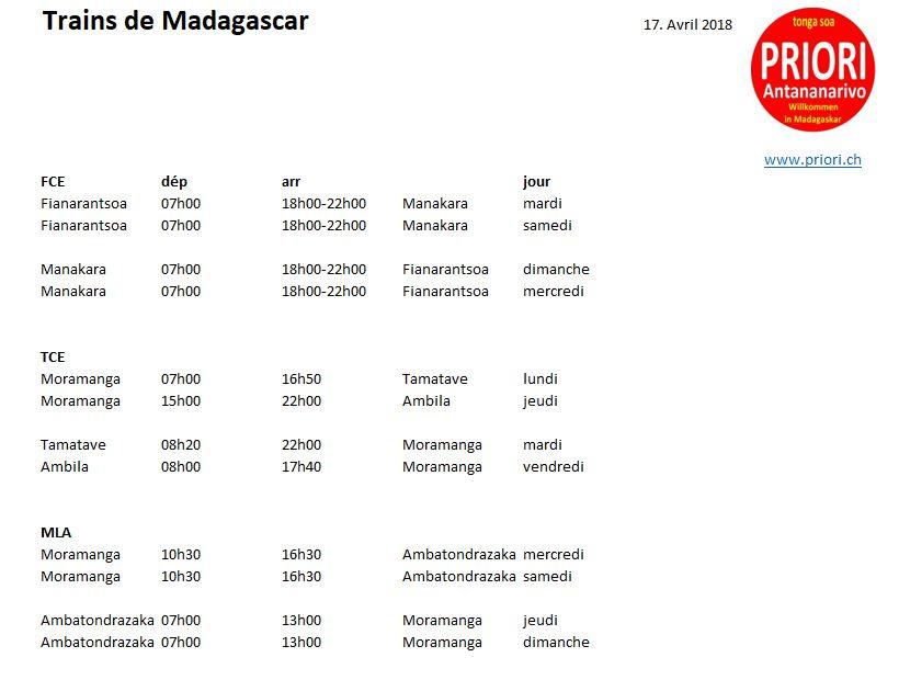 Eisenbahn in Madagaskar: Fahrplan von PRIORI Reisen