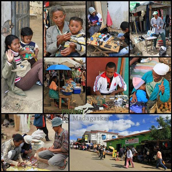 Hosentasche gegen Taschendiebe made in Madagaskar: Markt_Fianarantsoa.Collage_Hochland_Madagaskar_PRIORI-Reisen