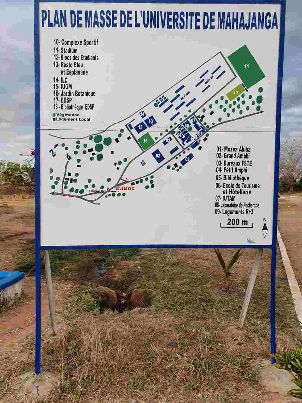 Umgebungsplan der Universität Mahajanga, Madagaskar - 01 steht für das Mozea Akiba Museum